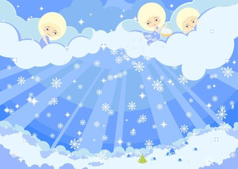Photo sur Aluminium Ciel illustration of three cute angels making the snow over a town
