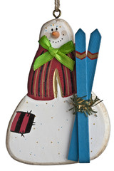 Snowman with skiis christmas ornament