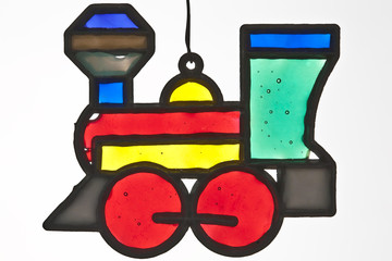 Stained glass locomotive christmas ornament