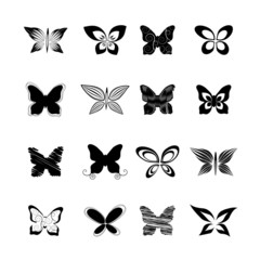 butterfly set, vector illustration