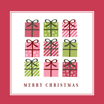 cute christmas greeting card inspired in vintage gift drawing