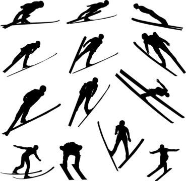 ski jumping silhouette - vector