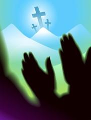 Digital painting of cross symbol