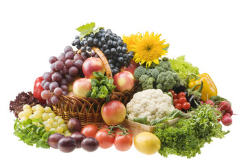 Big group of vegetable and fruit food objects