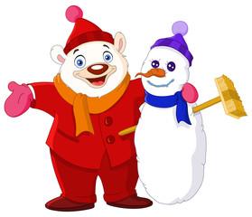 Smiley Polar bear hugging a snowman