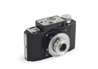 Old photographic camera isolated over white
