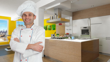 Chef in yellow kitchen