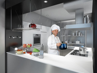 Chef with casserole in a cool industrial kitchen