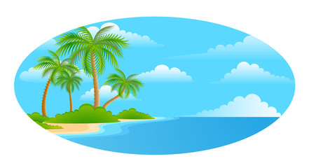 bright landscape on the summer beach with palm trees