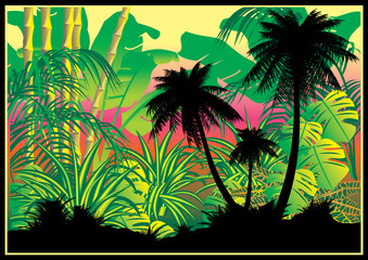Silhouettes of palms on a jungle background.