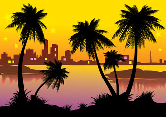 Urban landscape with palm-trees. Vector art-illustration.