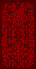 red vertical curled stripe