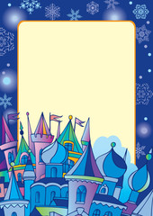Christmas postcard with winter town.