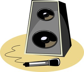 Illustration of a speaker with micro phone
