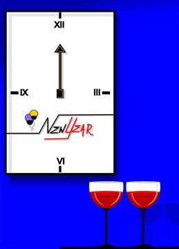 Illustration of a clock and two glass of wine