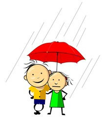 Illustration of relationship with rain background