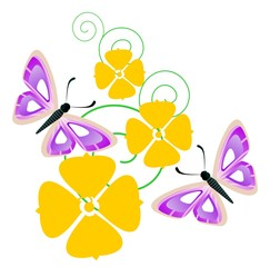 Illustration of two butterfly  with flower