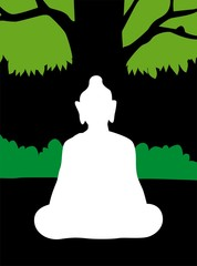Illustration of silhouette of Lord Buddha