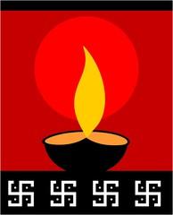 Illustration of divine pot lamp in red background