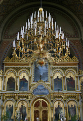 Interior of Uspenski Russian Orthodox cathedral in Helsinki, Fin