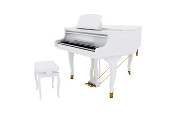 Beautiful white grand piano isolated on white background