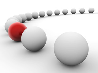 Uniqueness concept. Row of white balls  with red one.