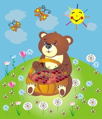 Bear with a basket on the meadow