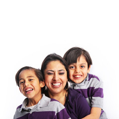 Mother & two boys laughing