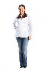Full body picture of pregnant young woman isolated