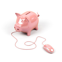 Piggy bank connected to a computer mouse.