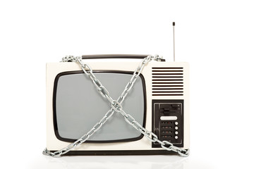 Vintage television set in chains