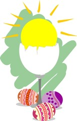 Illustration of easter egg in colour background