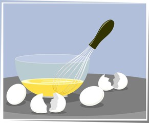 Illustration of egg and bowl in colour background