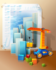 toy crane and cubes