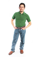 Young Man in Casual Clothes with Hands in Pocket Isolated