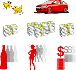girl, car, money, icons