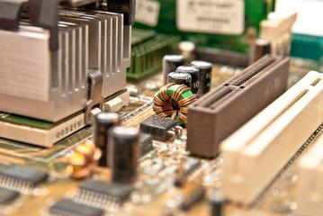 closeup view at part of computer mainboard