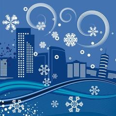 Urban Winter Cityscape Background