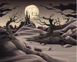 Fotorolgordijn Chocoladebruin Horror landscape. Cartoon and vector illustration.