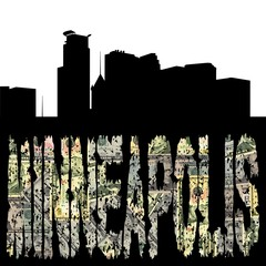 Minneapolis grunge dollar text with skyline illustration