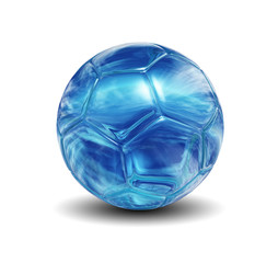 high resolution blue glass soccer ball isolated on white