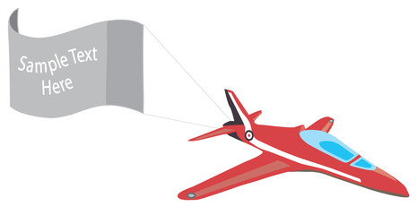Plane with banner and copy space vector