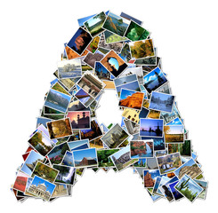 All over the world photo font A with 210 original pictures
