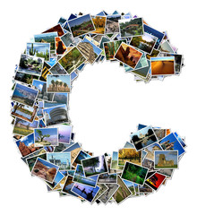 All over the world photo font C with 210 original pictures