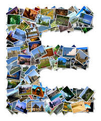 All over the world photo font E with 210 original pictures