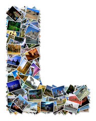 All over the world photo font L with 210 original pictures