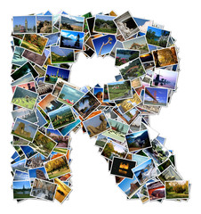 All over the world photo font R with 210 original pictures
