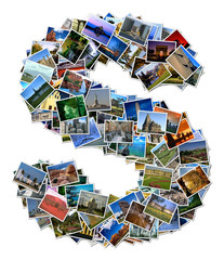 All over the world photo font S with 210 original pictures