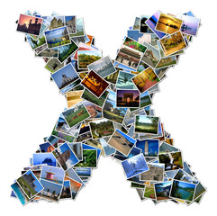 All over the world photo font X with 210 original pictures