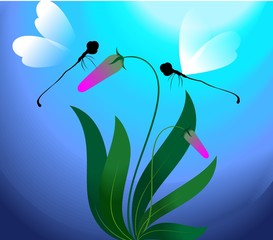Illustration of butterfly flying in the flower